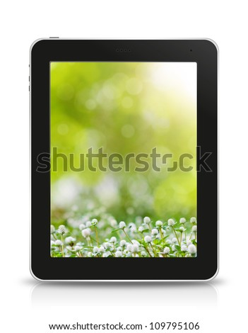 green bokeh wallpaper in tablet pc, isolated on background white - stock photo