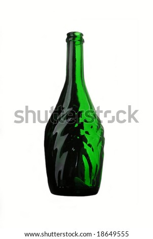Green bottle against a white background.