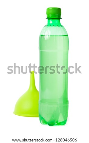 Green bottle and funnel isolated on white - stock photo