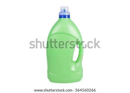 green bottle isolated on white background  - stock photo