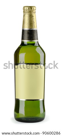 Green bottle of beer with blank label isolated on white - stock photo