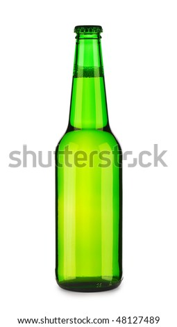 green bottle of beer with lens flare