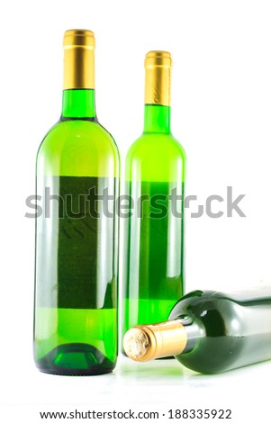 green bottle of wine isolated