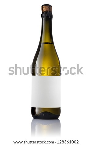 Green bottle with a white sparkling wine with label, isolated on white background.