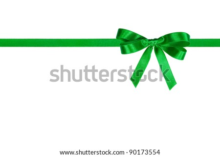 Green bow and horizontal ribbon on white - stock photo