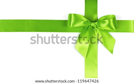 green bow on a white background - stock photo
