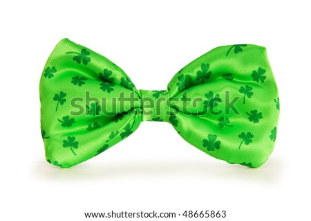 Green bow tie as a concept for St Patrick day - stock photo