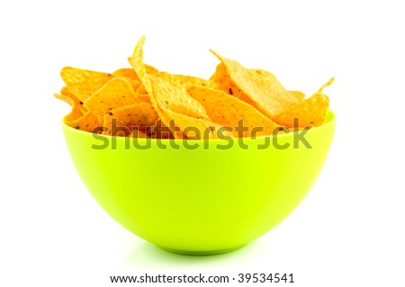 Green bowl with tortilla chips isolated on white background - stock photo