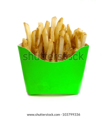 Green box of french fries isolated on white - stock photo