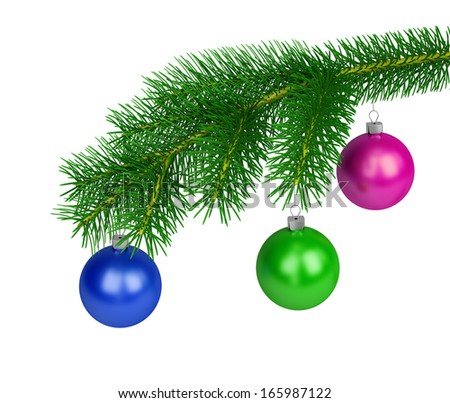 Green branch of pine with colored balls. 3d image. White background.