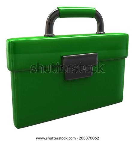 Green briefcase icon - stock photo