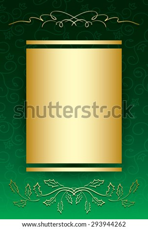 green bright vintage background with gold decorative ornament