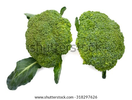 green broccoli isolated on white