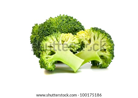 green broccoli isolated on white background - stock photo