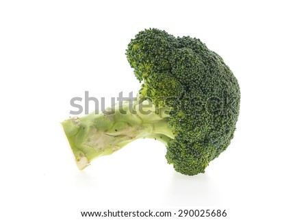 Green broccoli vegetable isolated on white background - stock photo