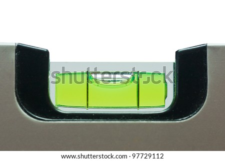 Green bubble level isolated on a white background - stock photo