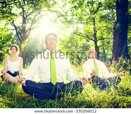 Green Business Team Meditation Contemplation Concept