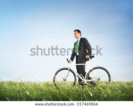 Green Businessman Ecology Environmental Conservation Concept - stock photo