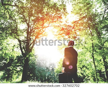 Green Businessman Thinking Inspiration Nature Concept - stock photo