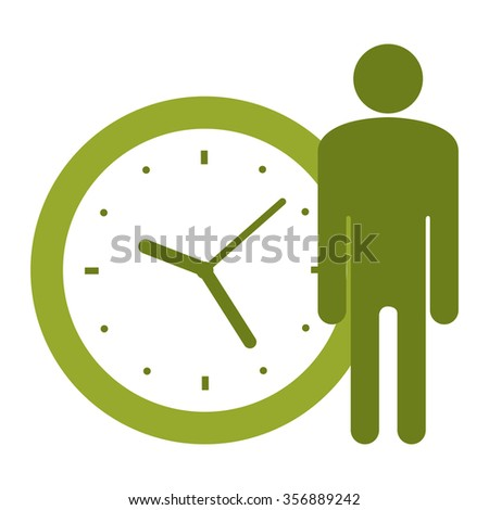 Green Businessman With Time Clock Infographics Flat Icon, Sign Isolated on White Background