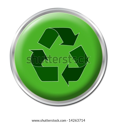 Green button with the symbol for recycling