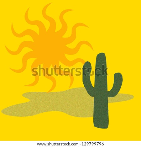 green cactus and big golden sun desert illustration - stock photo