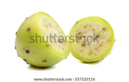 green cactus pear on white background