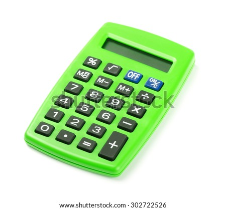 Green calculator isolated on a white background - stock photo