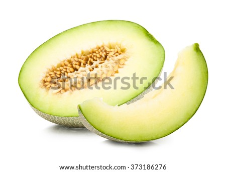 green cantaloupe melon isolated on white - stock photo