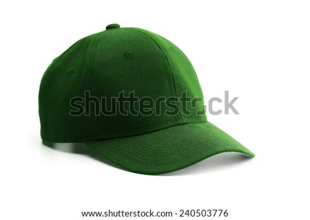 Green cap isolated on white. - stock photo