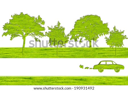 Green Car and tree symbol from grass background, isolated on white. - stock photo