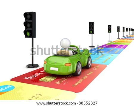 Green car driving on a road made of credit cards.Isolated on white background.3d rendered.