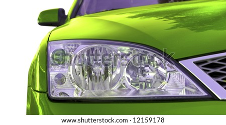 Green car isolated on white. - stock photo