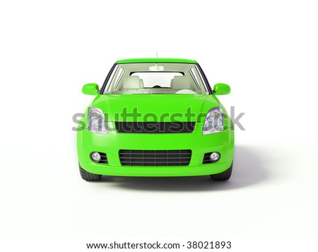 green car on isolated background - stock photo