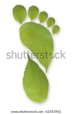 Green Carbon Leaf Footprint - stock photo