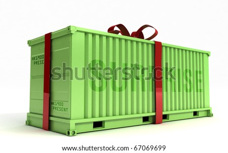 Green cargo container with a red ribbon on a white background - stock photo