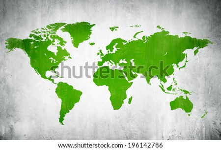 Green Cartography Of The World In A White Background - stock photo