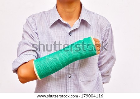 green cast on hand and arm isolated on white background - stock photo