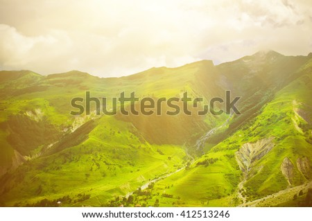 Green caucasus  mountain landscape in Georgia, natural travel vacation background - stock photo