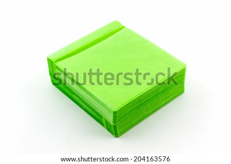 Green CD paper case on white background.