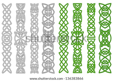 Green celtic ornaments and elements for medieval embellishments. Vector version also available in gallery - stock photo