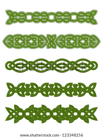Green celtic ornaments and embellishments for design and decorate. Vector version also available in gallery - stock photo