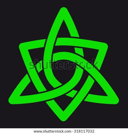 Green celtic pattern over black - stock photo