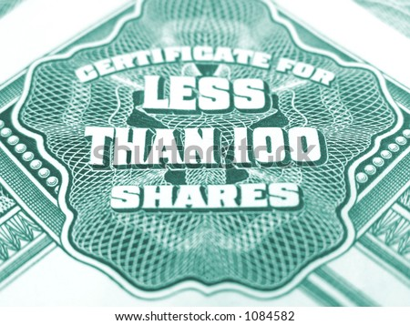 Green certificate for capital / common stock shares certificates of American tobacco corporation. - stock photo