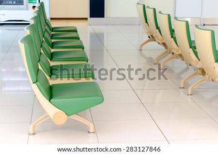 Green chair in New Chitose airport, Chitose, Hokkaido, Japan