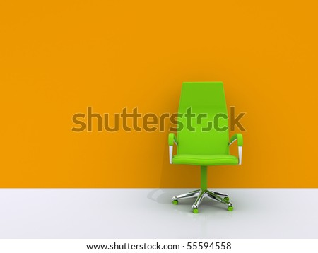 green chair near orange wall - stock photo