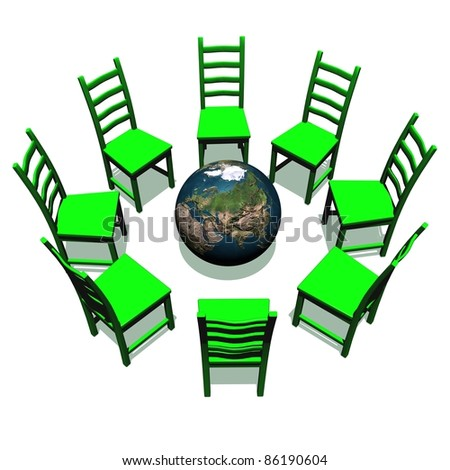 Green chairs for a meeting around earth in white background - stock photo