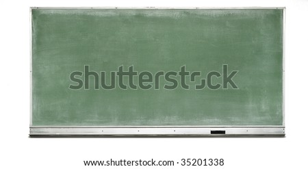 Green Chalk Board with silver frame and tray holding an eraser - stock photo