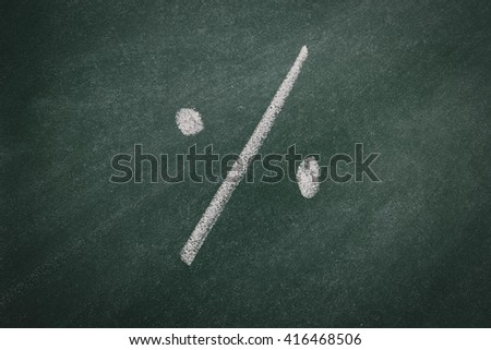 Green Chalkboard  percentage - stock photo