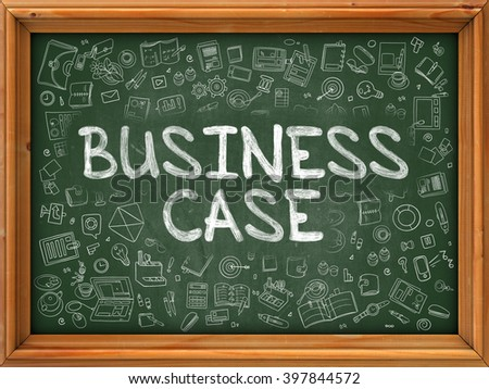 Green Chalkboard with Hand Drawn Business Case with Doodle Icons Around. Line Style Illustration. - stock photo